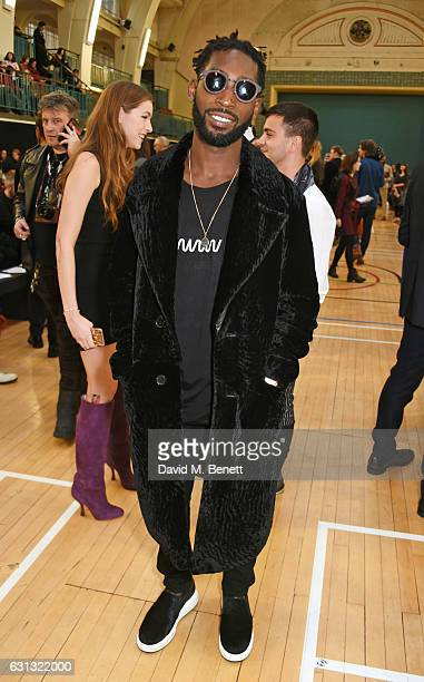 Tinie Tempah attends the Vivienne Westwood show during London Fashion Week Men's January 2017 collections at Seymour Leisure Centre on January 9 2017...