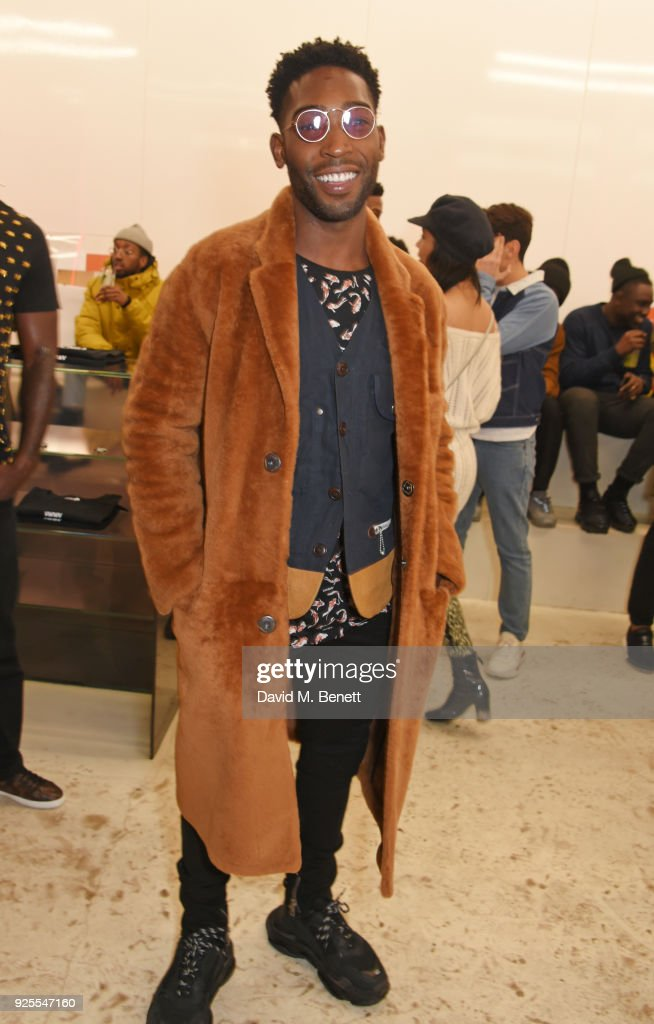 Tinie Tempah attends the What We Wear x Axel Arigato pop up shop launch party on February 28, 2018 in London, England.