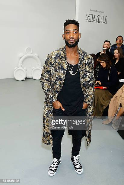Tinie Tempah attends the Xiao Li AW 2016 Collections show presented by MercedesBenz at Brewer Street Car Park on February 23 2016 in London England