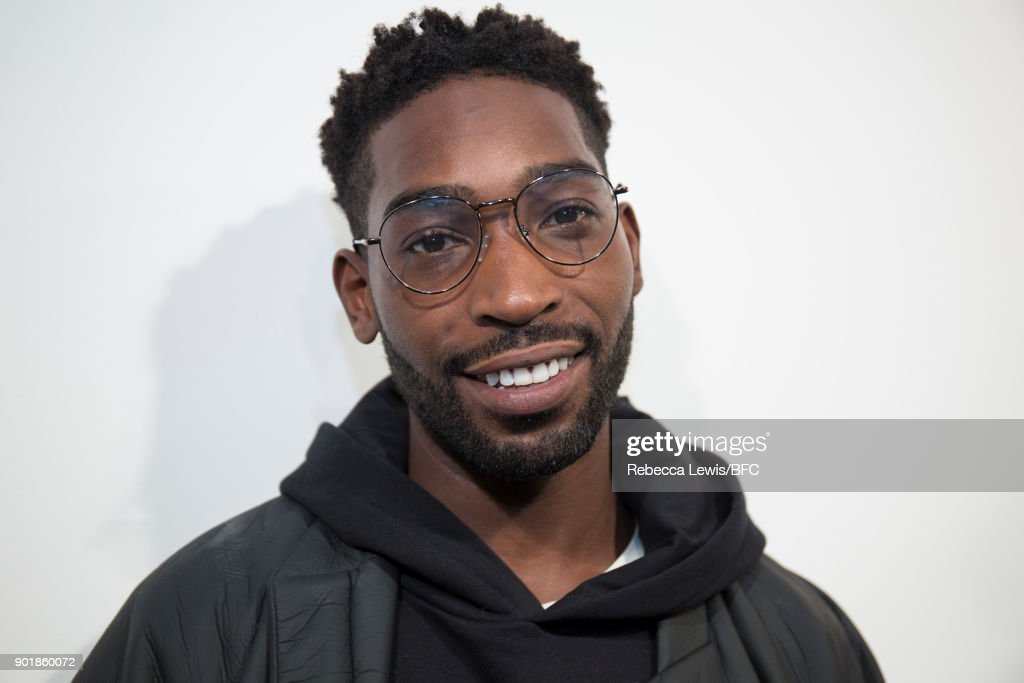 Tinie Tempah backstage ahead of the What We Wear show during London Fashion Week Men's January 2018 at BFC Show Space on January 6, 2018 in London, England.