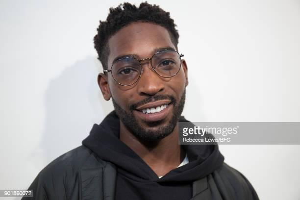 Tinie Tempah backstage ahead of the What We Wear show during London Fashion Week Men's January 2018 at BFC Show Space on January 6, 2018 in London,...
