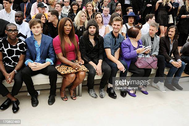Tinie Tempah Douglas Booth Serena Williams Sergio Pizzorno guest Suzy Menkes Jefferson Hack and Ben Cobb sit in the front row at Burberry Menswear...