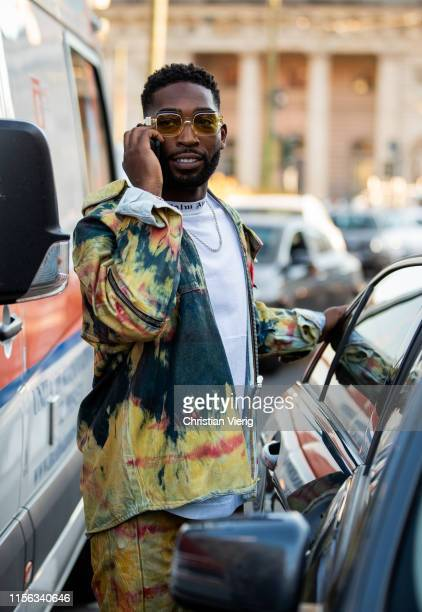 Tinie Tempah is seen outside Palm Angels during the Milan Men's Fashion Week Spring/Summer 2020 on June 16, 2019 in Milan, Italy.
