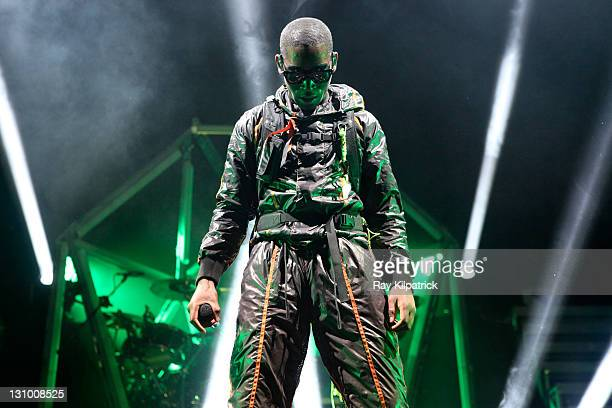Tinie Tempah performs on stage at Echo Arena on October 31, 2011 in Liverpool, United Kingdom.