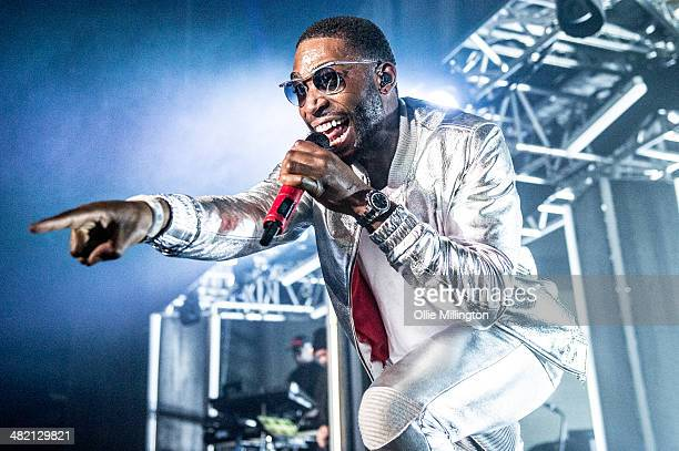 Tinie Tempah performs on stage during a date of his 2014 UK Demonstration Tour at Nottingham Capital FM Arena on April 2 2014 in Nottingham England