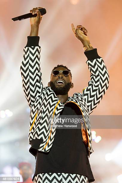 Tinie Tempah performs on stage during MTV Crashes Plymouth at Plymouth Hoe on July 22 2014 in Plymouth England