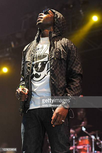 Tinie Tempah performs on stage during the final day of Wireless Festival 2010 in Hyde Park on July 4 2010 in London England