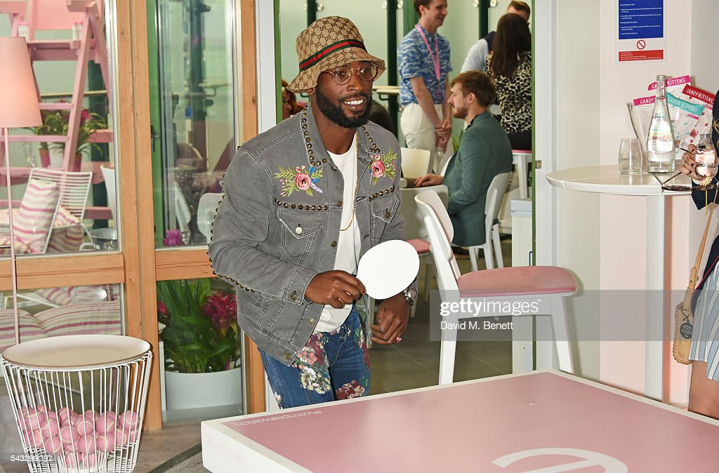 Tinie Tempah plays ping pong in the evian Live Young suite during Wimbledon 2016 at the All England Tennis and Croquet Club on June 27, 2016 in London, England.