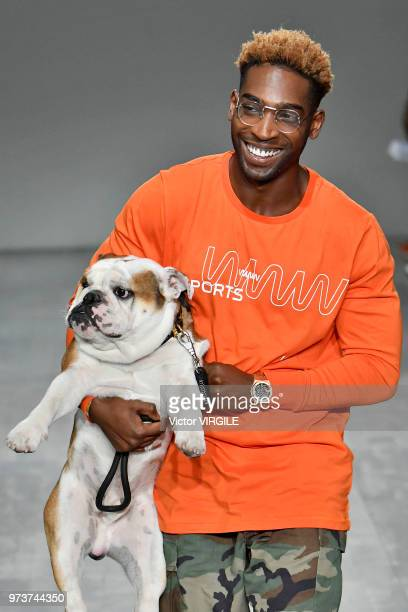 Tinie Tempah walks the runway at the What We Wear Spring/Summer 2019 fashionshow during London Fashion Week Men's June 2018 at the BFC Show Space on...