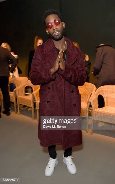 Tinie Tempah wearing Burberry attends the Burberry February 2017 Show during London Fashion Week February 2017 at Makers House on February 20 2017 in...