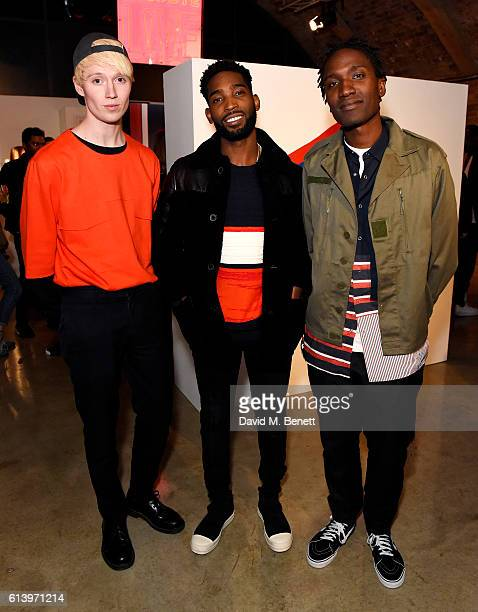 Tinie Tempah with designers Agape Mdumulla and Sam Cotton of Agi & Sam attend the Agi & Sam x Lacoste L!ve Collection Launch on October 11, 2016 in...