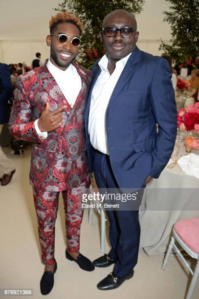 Tinie Temper and Edward Enninful attend the Cartier Queen's Cup Polo Final at Guards Polo Club on June 17 2018 in Egham England