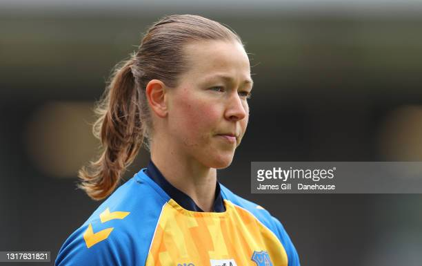 Tinja-Riikka Korpela of Everton Women looks on during warm up prior to the Barclays FA Women's Super League match between Manchester United Women and...