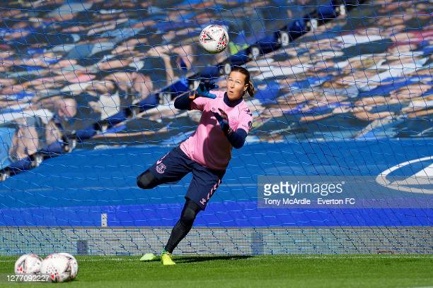 TinjaRiikka Korpela of Everton Women warms up for the Women's FA Cup Quarter Final match between Everton and Chelsea at Goodison Park on September 27...
