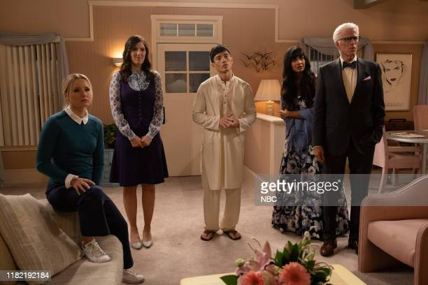 """Tinker, Tailor, Demon, Spy"""" Episode 404 -- Pictured: Kristen Bell as Eleanor, D'Arcy Carden as Janet, Manny Jacinto as Jason, Jameela Jamil as..."""