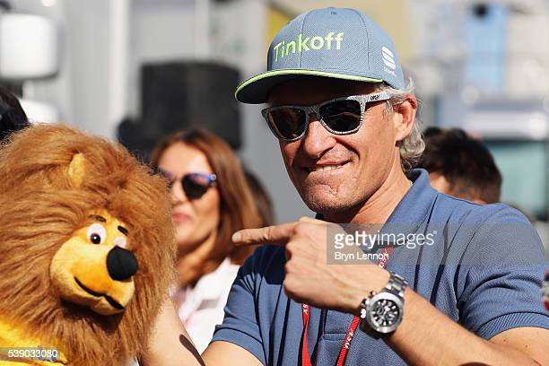 Tinkoff Team owner Oleg Tinkov points to the stage winners toy presentation lion after stage four of the 2016 Criterium du Dauphine from Criterium du...