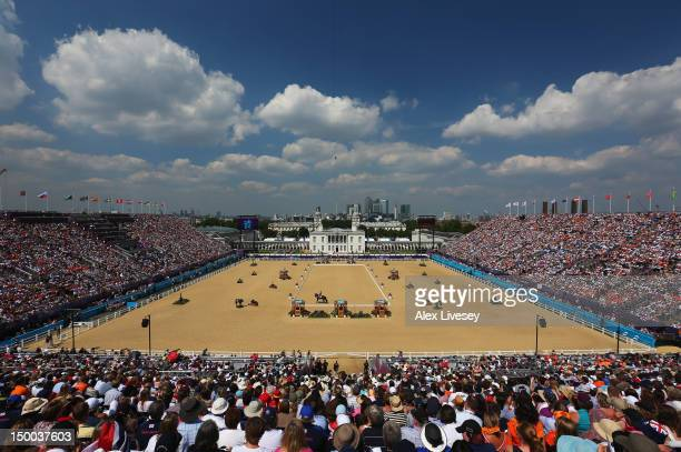 Tinne Vilhelmson Silfven of Sweden riding Don Auriello competes in the Individual Dressage on Day 13 of the London 2012 Olympic Games at Greenwich...
