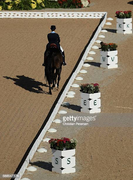 Tinne Wilhelmsson Silfven of Sweden riding Don Aurelio competes in the Mens/Womens Team Dressage Grand Prix event on Day 6 of the Rio 2016 Olympic...