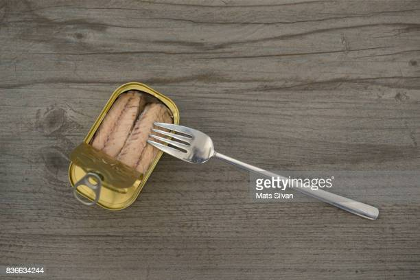 tinned mackerel with a fork - mackerel stock pictures, royalty-free photos & images