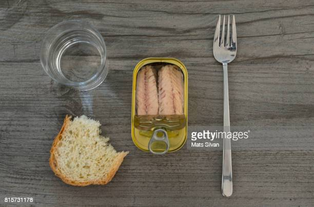 Tinned Mackerel with Bread and a Glass of Water