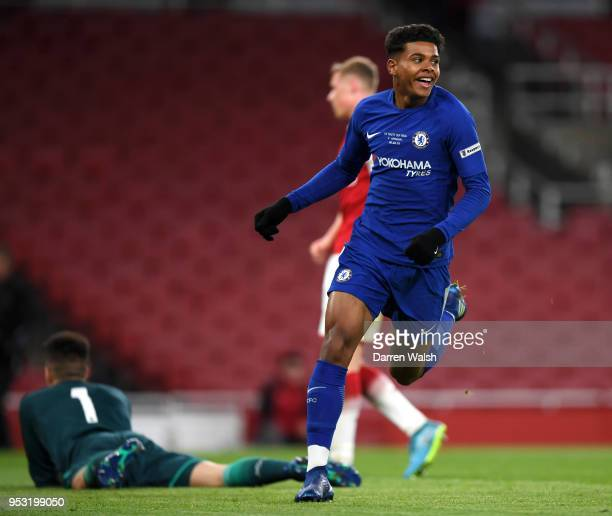 Tino Anjorin of Chelsea celebrates scoring his side's third goal during the FA Youth Cup Final second leg between Chelsea and Arsenal at Emirates...