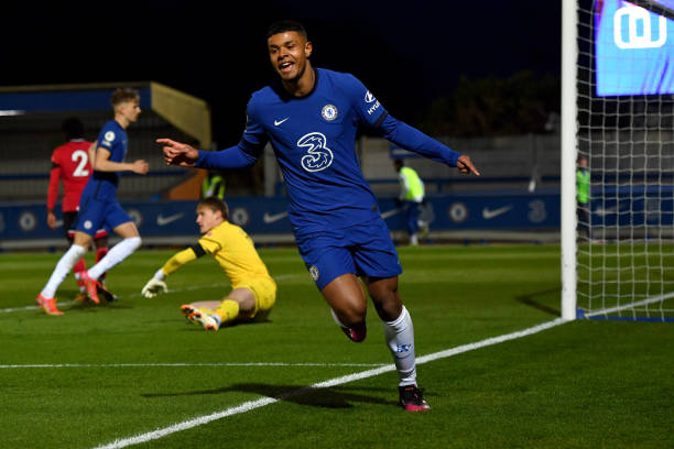 Tino Anjorin of Chelsea celebrates scoring the first goal during the Chelsea v Southampton Premier League 2 match at Kingsmeadow on April 12, 2021 in...