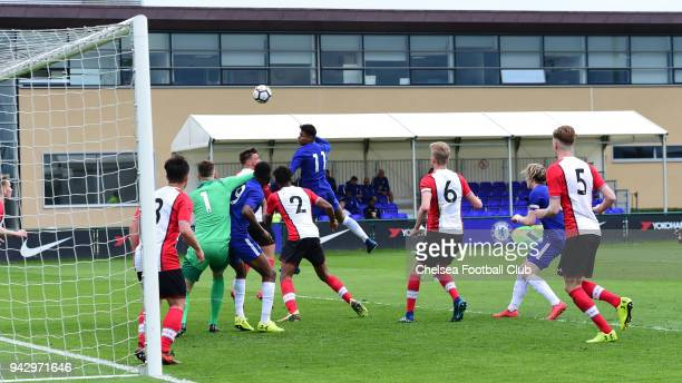 Tino Anjorin of Chelsea during the U18 Premier League match between Chelsea and Southampton at Chelsea Training Ground on April 7 2018 in Cobham...