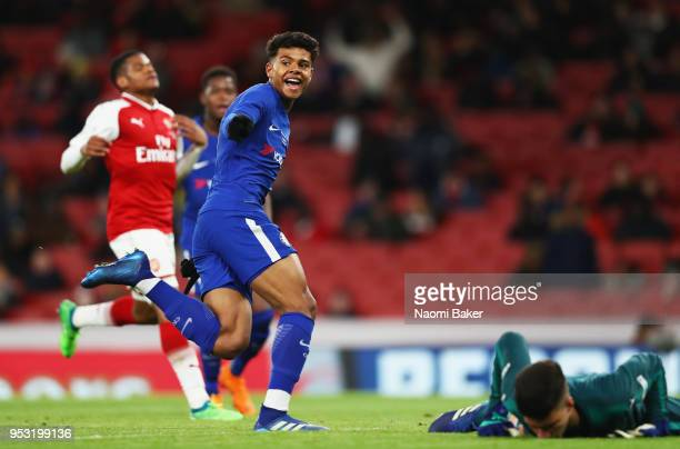 Tino Anjorin of Chelsea FC celebrates after scoring his sides third goal during the FA Youth Cup Final second leg match between Arsenal and Chelsea...