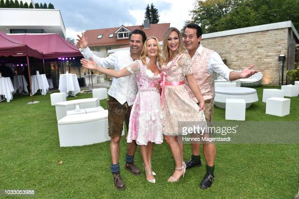 Tino Bauer Ophelia Blaimer Daniela Hentze and Gregor Glanz during the Ophelia Blaimer Wiesn couture celebration on September 13 2018 in Munich Germany