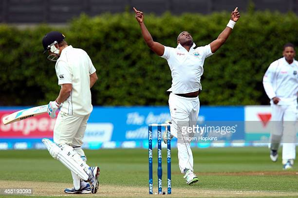 Tino Best of the West Indies celebrates after taking the wicket of Neil Wagner of New Zealand during day two of the Second Test match between New...