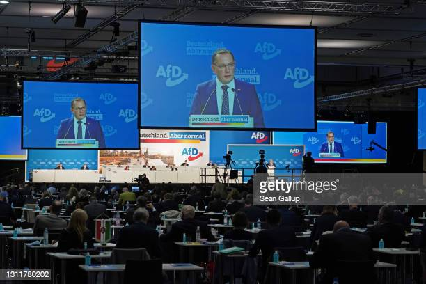 Tino Chrupalla, co-head of the right-wing Alternative for Germany political party, speaks to delegates at the AfD federal party congress on April 10,...