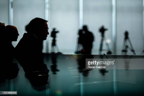 Tino Chrupalla Federal Chairman of the AfD is pictured during the press conference the day after the state election in Hamburg on February 24 2020 in...