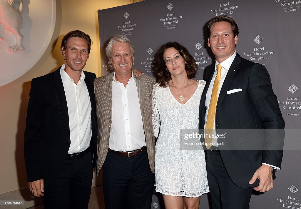 Tino Schuster, Stefan Schaffelhuber, Fitna Ludwig and Axel Ludwig attend the Sommerfest Eclat Dore at Hotel Vier Jahreszeiten on July 30, 2013 in Munich, Germany.
