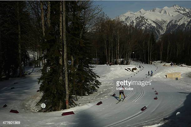 Tino Uhlig of Germany competes in the Men's 20km standing crosscountry skiing during day three of Sochi 2014 Paralympic Winter Games at Laura...