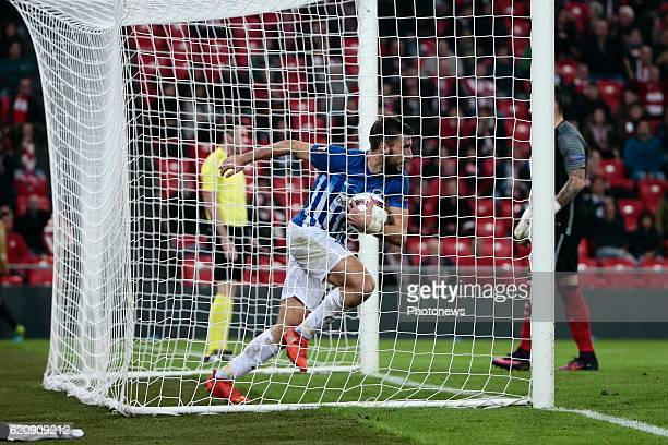 TinoSven Susic midfielder of KRC Genk celebrates scoring a goal pictured during the UEFA Europa League group F stage match between Athletic Club de...