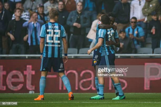 Tinotenda Kadawere and Kerim Mrabti of Djurgardens IF embrace after scoring the 20 goal during the Svenska Cupen Final between Djurgardens IF and...
