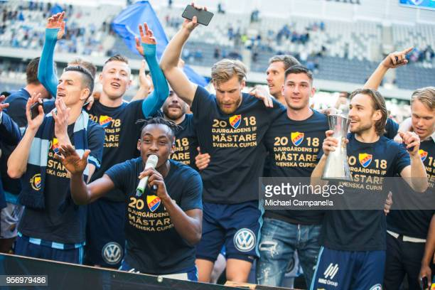 Tinotenda Kadawere od Djurgardens IF celebrates winning the Svenska Cupen Final between Djurgardens IF and Malmo FF at Tele2 Arena on May 10 2018 in...