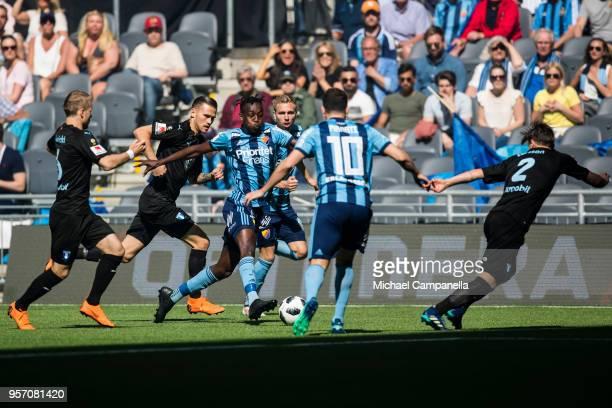 Tinotenda Kadawere of Djurgardens IF runs with the ball during the Svenska Cupen Final between Djurgardens IF and Malmo FF at Tele2 Arena on May 10...