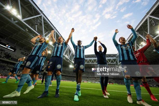 Tinotenda Kadewere of Djurgardens IF with his team mates celebrates after the victory during the Allsvenskan match between Djurgardens IF and Orebro...