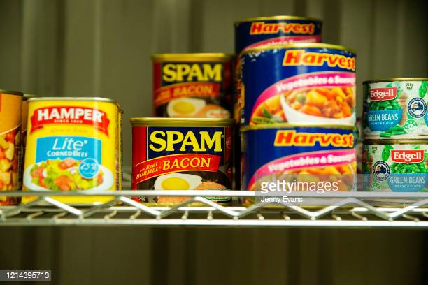 Tins of food are seen at St Paul's Anglican Church in Burwood on March 24 2020 in Sydney Australia The Parish Pantry provides food for the vulnerable...