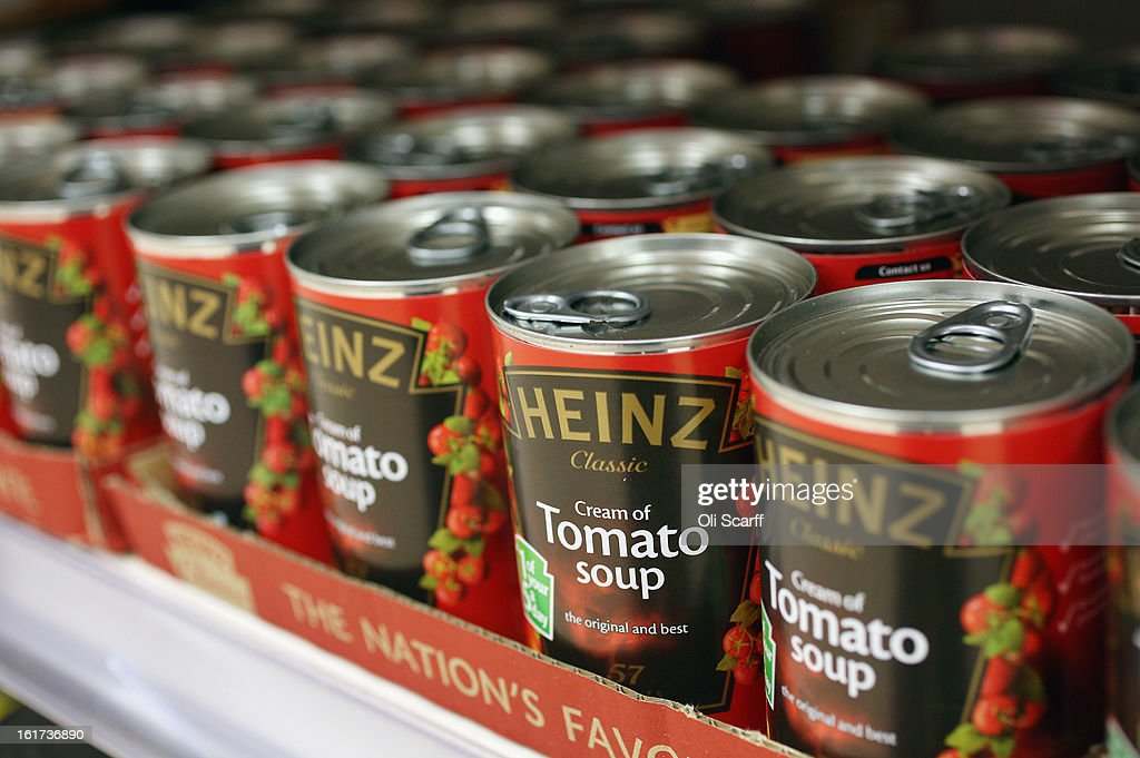 Tins of H.J. Heinz Co. Tomato Soup on February 15, 2013 in London, England. Billionaire investor Warren Buffett's Berkshire Hathaway is is teaming up with the Brazilian investment group 3G Capital to buy H.J. Heinz Co. for 23.3 billion USD.