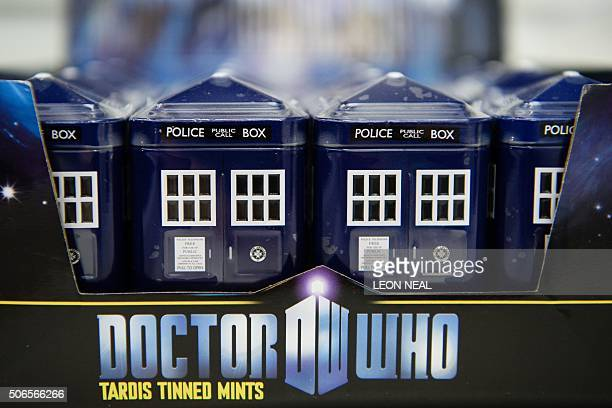 Tins of mints in the form of Doctor Who's TARDIS are displayed on a trade stand at the Toy Fair 2016 in west London England on January 24 2016 The...