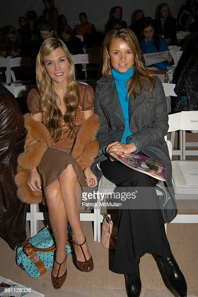 Tinsley Mortimer and Alison Aston attend Monique Lhuillier Fall 2005 Fashion Show at The Tent at Bryant Park on February 8 2005 in New York City