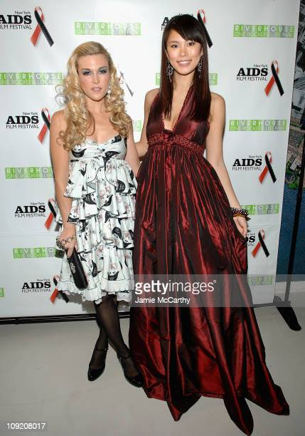 Tinsley Mortimer and Miss Universe Riyo Mori attend the New York Aids Film Festival Red Ball at The Riverhouse Sales and Discovery Center in New York...