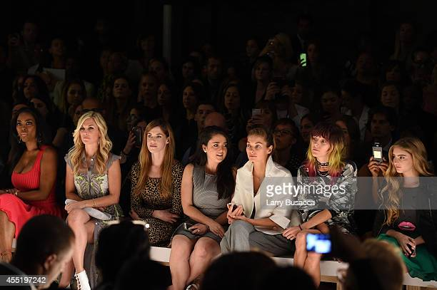 Tinsley Mortimer Byrdie Bell Jessica Hart Chloe Norgaard Willow Shields and Cheryl Wills attend the Betsey Johnson fashion show during MercedesBenz...