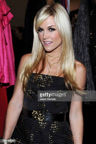 Tinsley Mortimer poses backstage at the Milly by Michelle Smith Fall 2011 fashion show during Mercedes-Benz Fashion Week at The Stage at Lincoln...