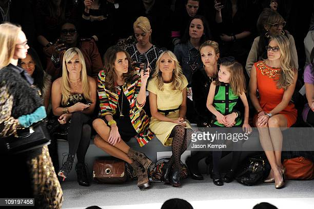 Tinsley Mortimer TV personality Louise Roe actress Kristin Chenoweth TV personality Elisabeth Hasselbeck and her daughter Grace Hasselbeck attend the...