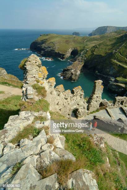tintagel castle cornwall - arthur stock pictures, royalty-free photos & images