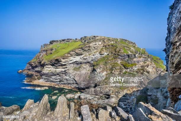 Tintagel Castle ruins on Tintagel Island Cornwall