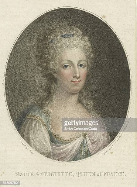 Tinted engraved portrait of Marie Antoinette Queen of France between 17911792 wearing a clip in her hair and a simple dress with pearl broche 1800...